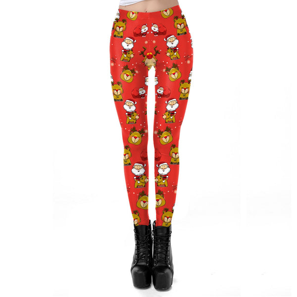 Cute Reindeer Santa Claus Print Women Christmas Party Skinny Leggings