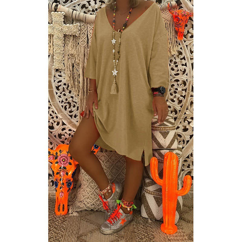 Long Sleeves V-neck Solid Color Women Loose Knee-length Dress