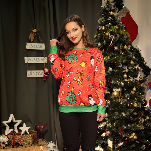 Reinbeer Christmas Tree Print Women Scoop Party Sweatshirt