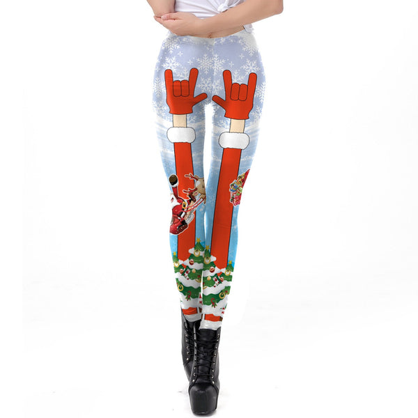 Digital Cartoon Festival Print Women Christmas Skinny Leggings