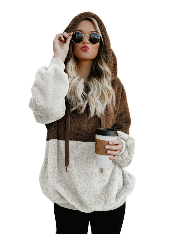 Fluffy Drawstring Patchwork Women Hooded Hoodie