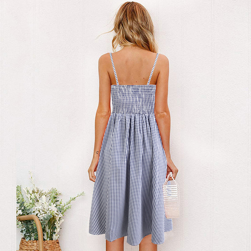 Spaghetti Straps Straps High Waist Buttons Women A-line Knee-length Dress