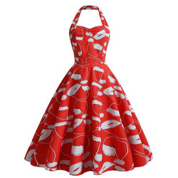 Retro Christmas Print Sweetheart Halter Dress