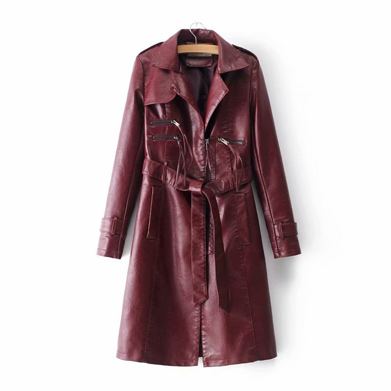 Lapel Solid Color Zipper Women Oversized Long PU Jacket with Belt
