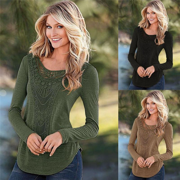 Scoop Pure Color Patchwork Long Sleeves Long T-shirt
