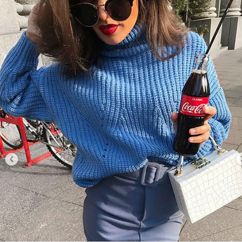 High Turtleneck Long Batwing Sleeves Loose Pullover Cropped Sweater