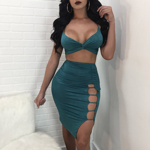Spaghetti Straps Crop Top High Waist Hollow Out Knee Length Skirt Two Pieces Dress Set