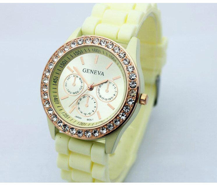 Fashion Crystal Jelly Strap Watch