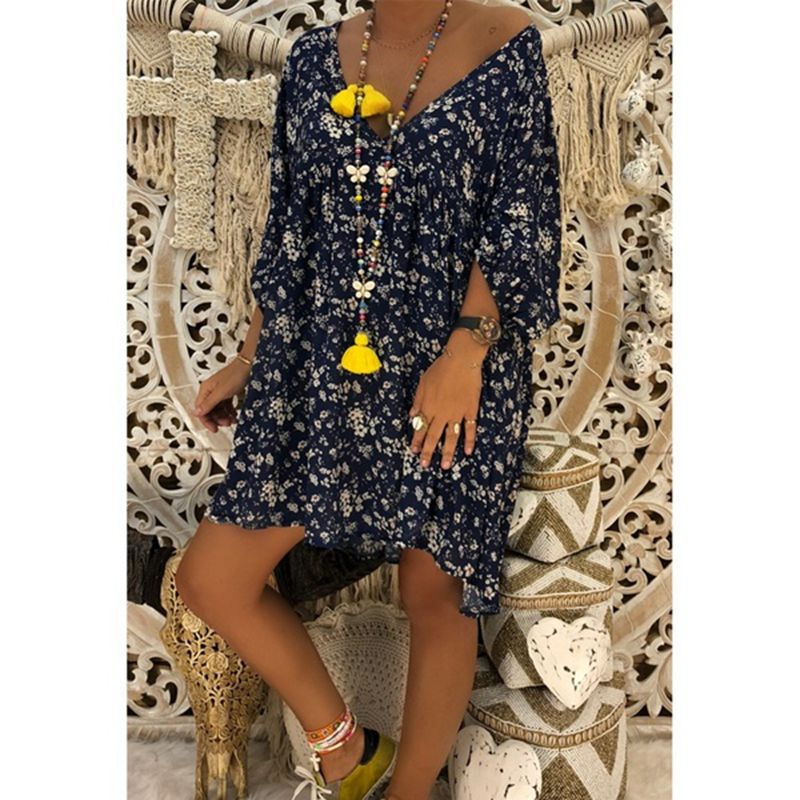 3/4 Sleeves Deep V-neck Floral Print Women Loose Short Dress