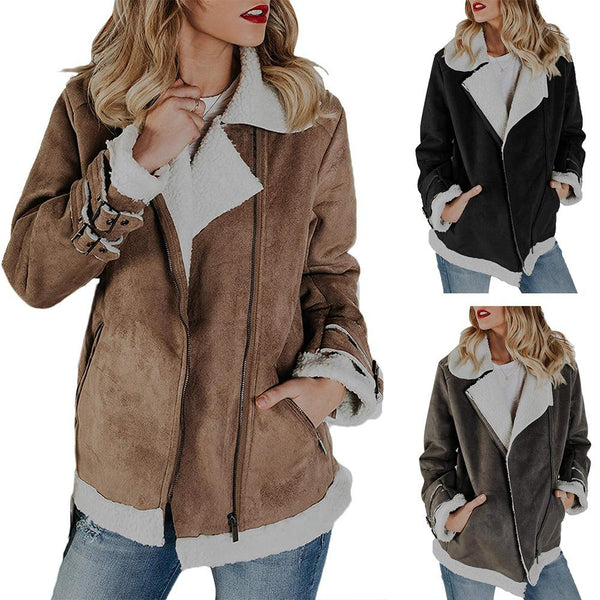 Faux Leather Lapel Patchwork Zipper Women Slim Jacket Coat