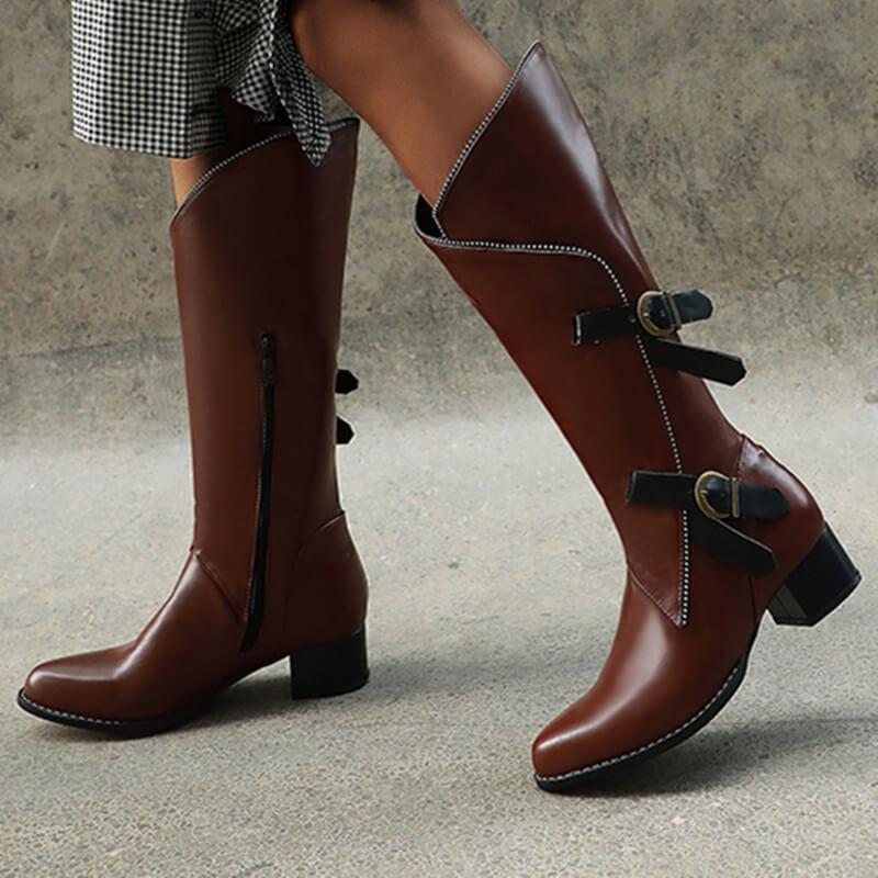 Leather Buckle Chunky Low Heel Knee High Boots