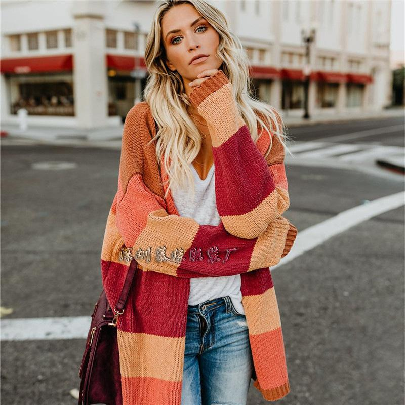Long Rainbow Stripe Loose Women Cardigan Sweater