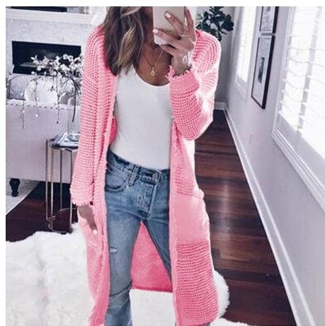 Solid Color Pockets Long Length Oversized Women Knit Cardigan