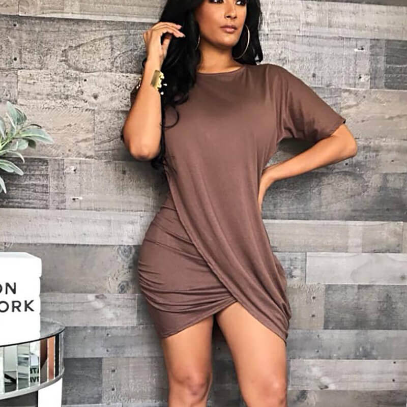 Crisscross Hem Ruched Bodycon Dress