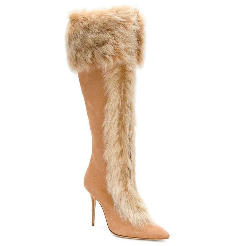 Faux Fur High Heel Suede Mid Calf Boots