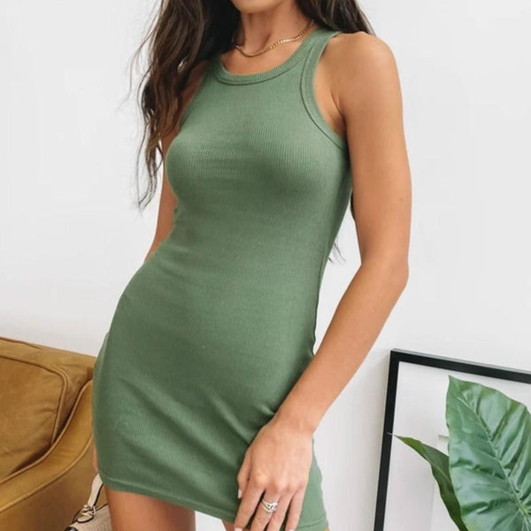 Slinky Sleeveless Soild Bodycon Short Dress