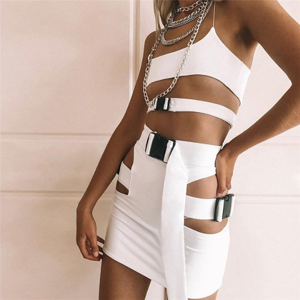 Sexy Spaghetti Straps Crop Top with Hollow Out Short Skirt Two Pieces Set