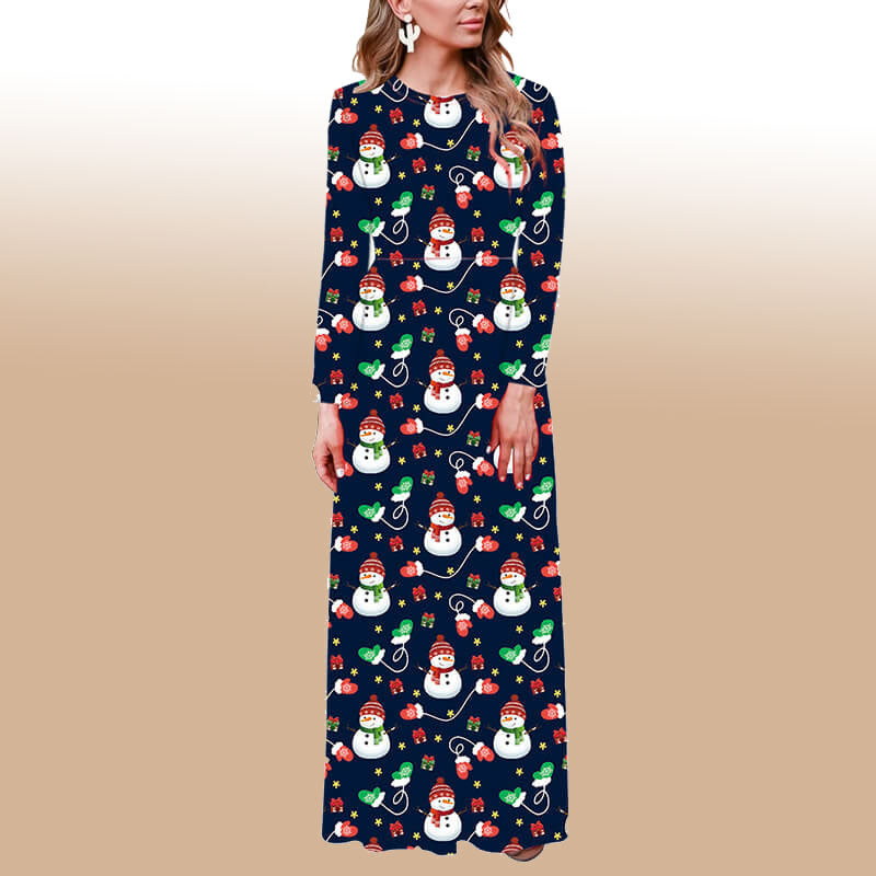 Christmas Crewneck Snowman Print Maxi Dress