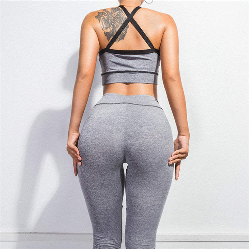 Mesh Patchwork Halter Crop Top with High Waist Long Skinny Pants Women Two Pieces Set