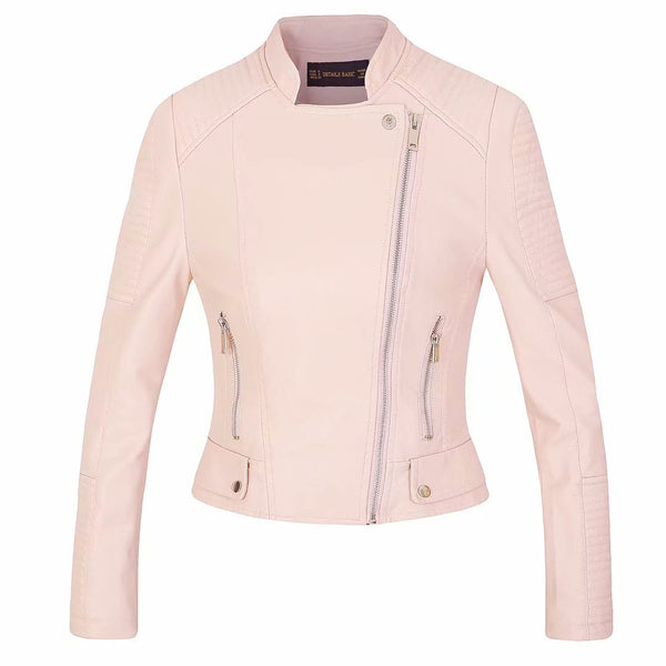 Stand Collar Lapel Oblique Zipper Women Slim Cropped Motorcycle Jacket