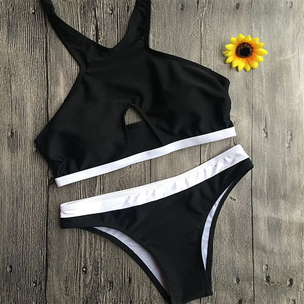 Black Halter Padded Top Two Pieces Bikini