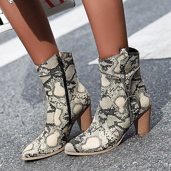 Snakeskin Leather Zipper High Heel Ankle Boots