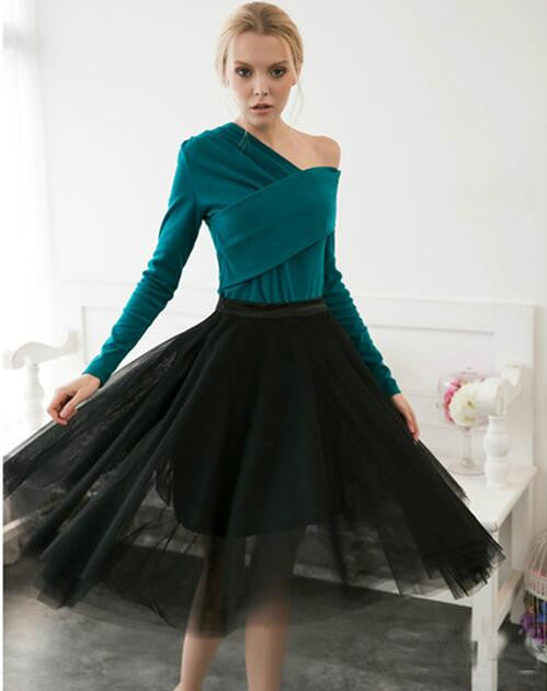 Fashion High Waist Pleated 5 Layers Flared Mesh Short Skirt