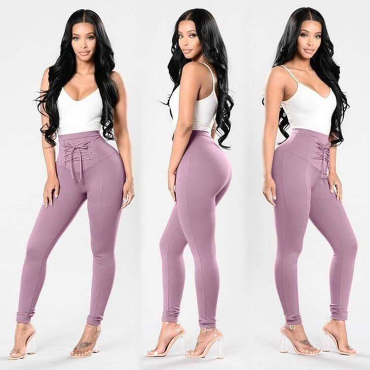 High Waist Stretch Strap Skinny Leggings Pants