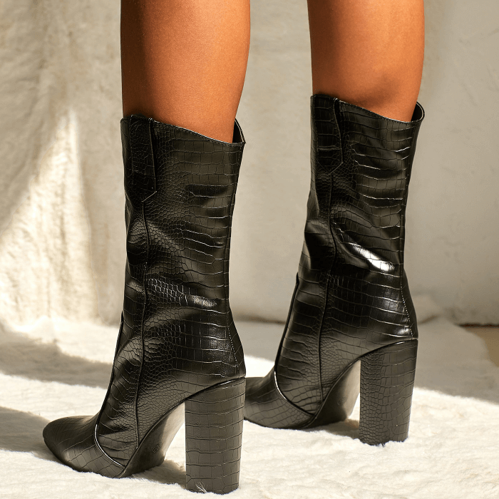 Black Leather High Chunky Heel Calf Boots