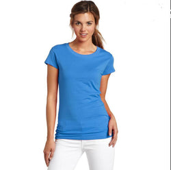 Fashion Pure Color Short Sleeve Scoop Cotton T-Shirt
