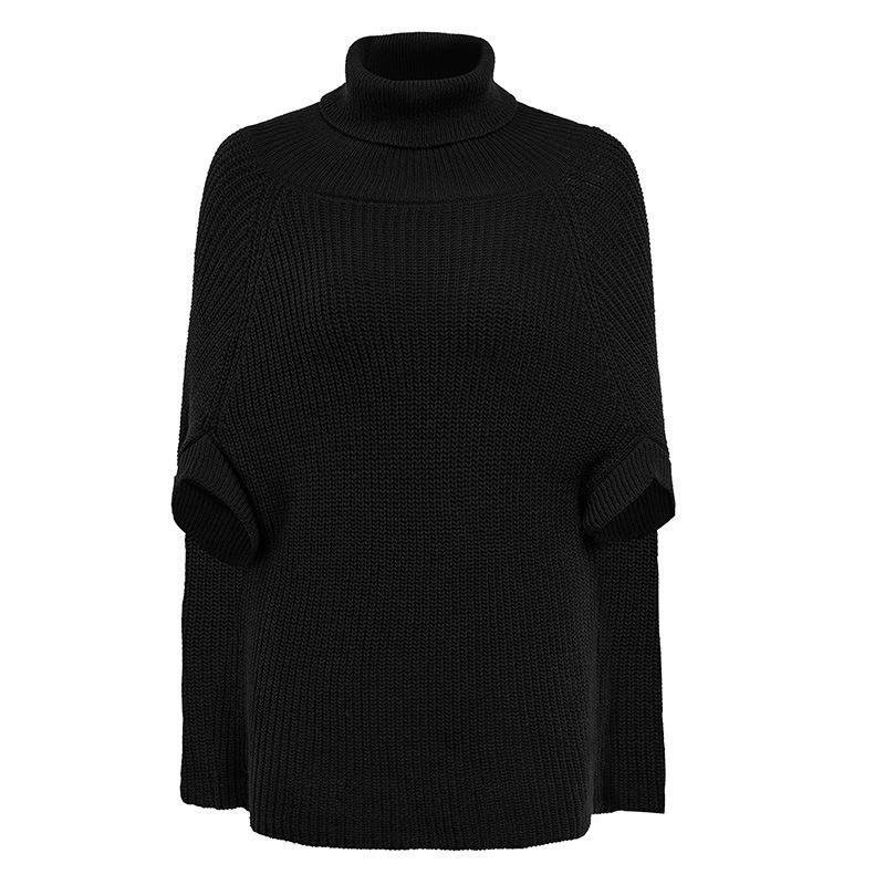 High Neck Long Batwing Sleeves Clock Women Pullover Sweater