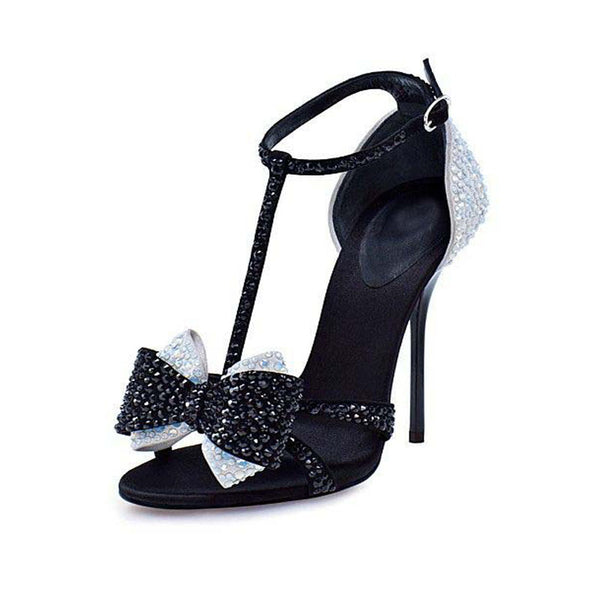 Casual Suede Buckle Rhinestone Bow High Heel Sandals