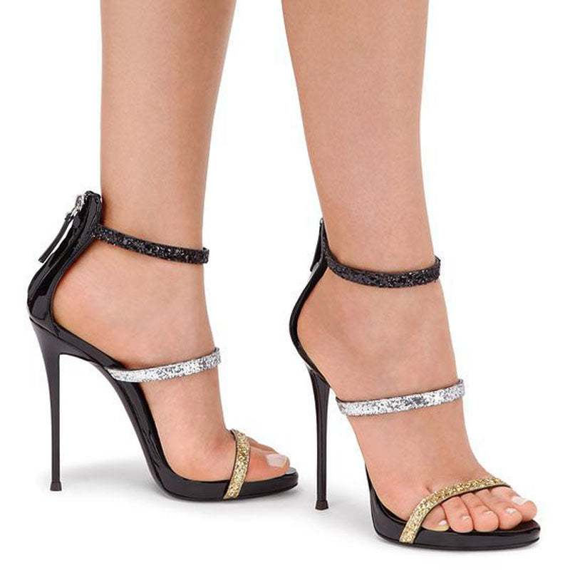 Sequin Colorblock Zipper Open Toe High Heel Sandals