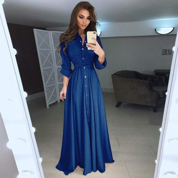 Pure Color 2019 New Trend Buttons High Waist Women Long Dress