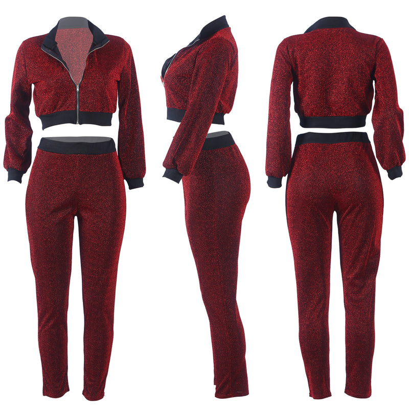 Patchwork Zipper Cropped Coat with High Waist Skinny Legging Women Two Pieces Set