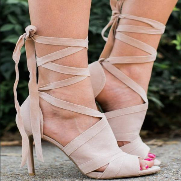 Nude Strap Peep Toe High Heel Sandals