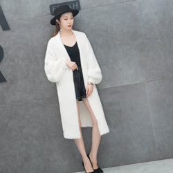 White Open Front Mohair Over Coat