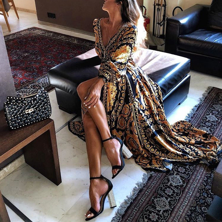 Deep V-neck Print High Waist Women Long Split Dress