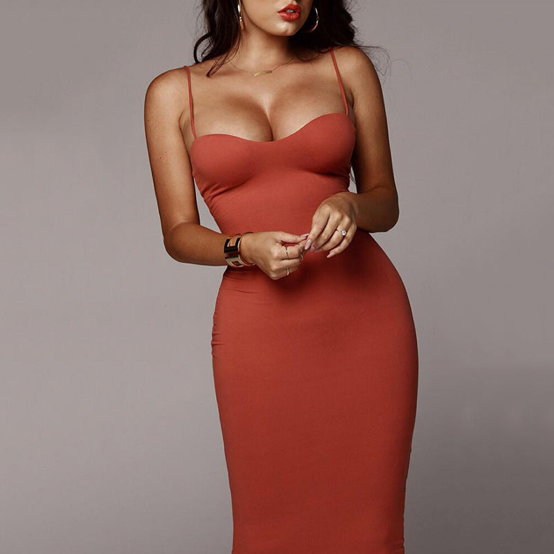 Solid Color Spaghetti Straps Bodycon Women Tee-length Dress