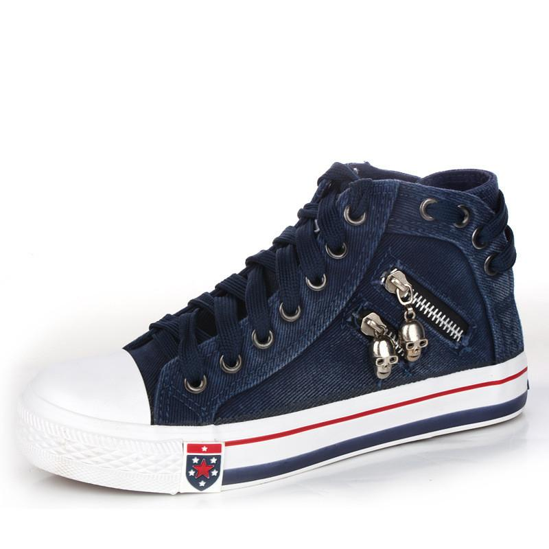 Skull Zipper Denim Lace Up Sneakers
