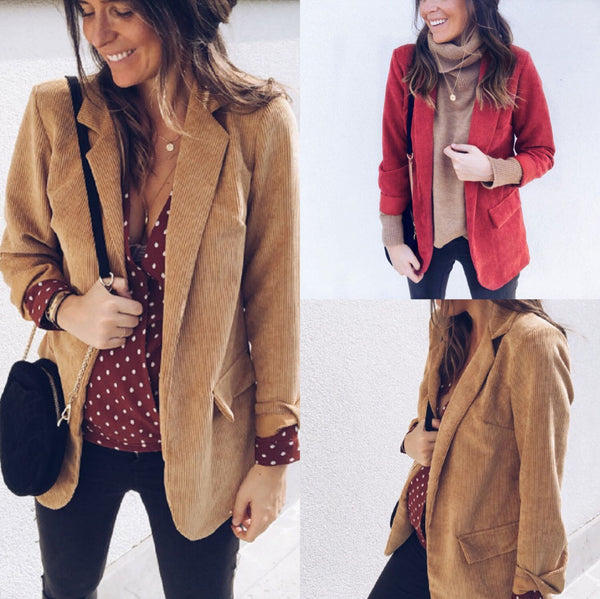 Candy Color Lapel V-neck Pockets Women Loose Blazer
