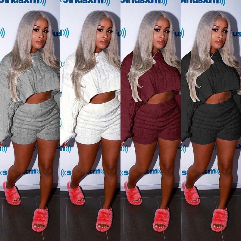Cable Knit Cropped Sweater with High Waist Knit Shorts Women Two Pieces Set