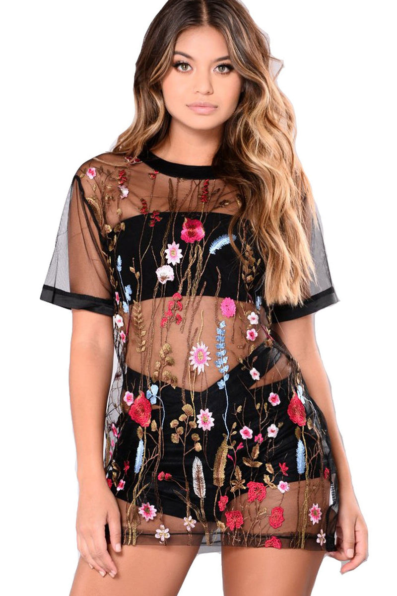 Pure Color Perspective Embroidery Loose Short Dress