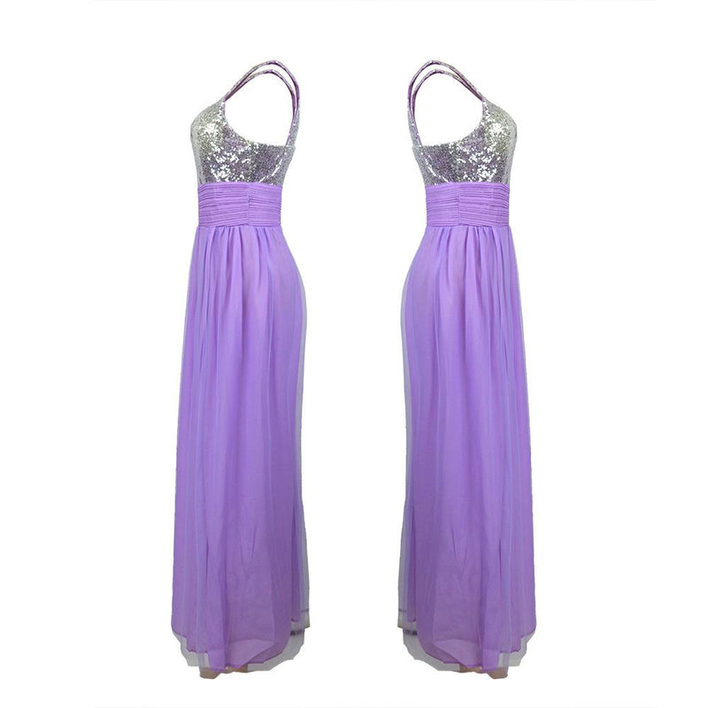 Purple Squined Bridesmaid Sisters Long Dress