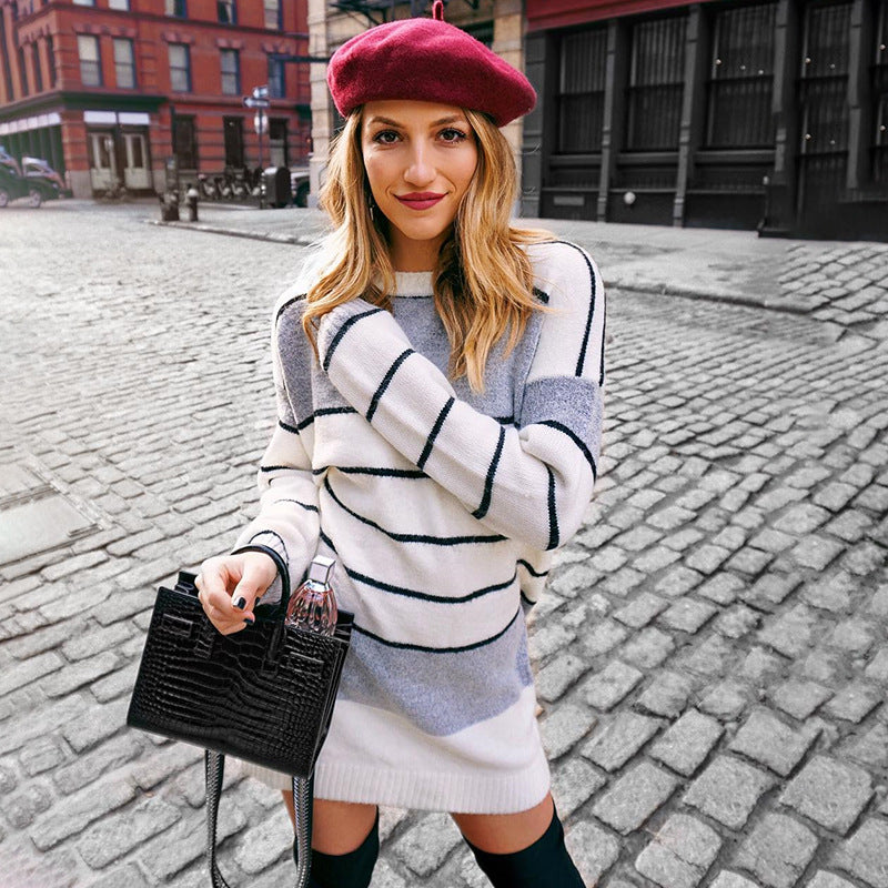 Stripes Scoop Long Loose Sleeves Women Oversized Long Sweater Dress