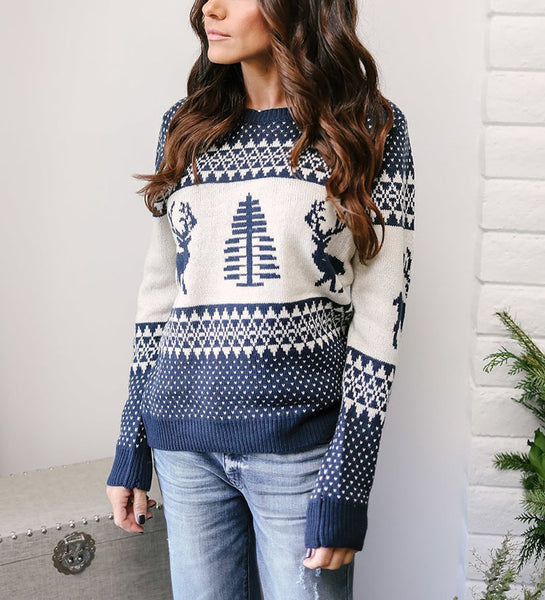 Deer Christmas Tree Print Women Colorful Christmas Sweater