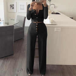 Buttons Crop Top High Waist Long Wide-leg Pants Women Two Pieces Set