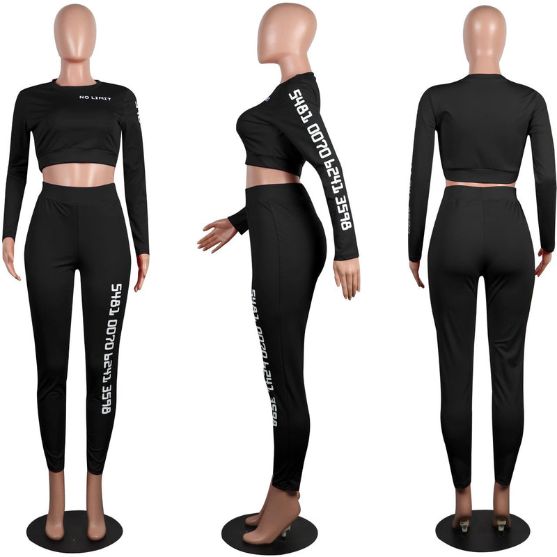 Letter Crop Top High Waist Skinny Pants Set