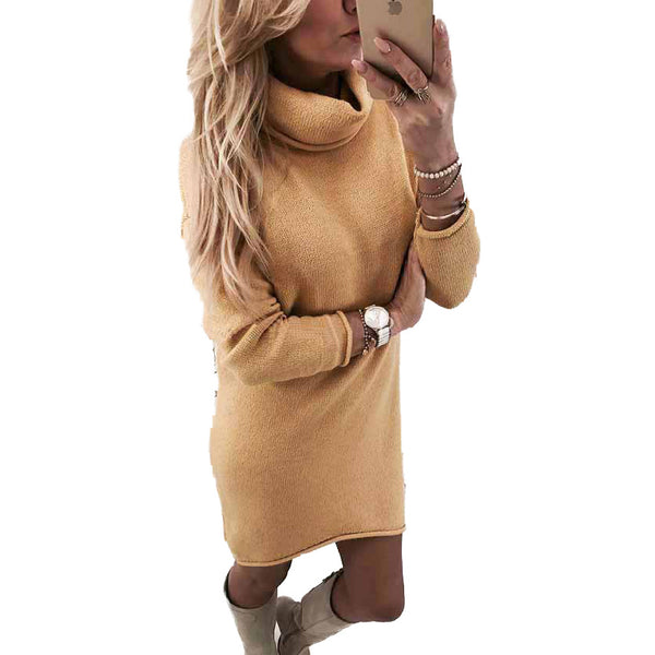 Candy Solid Color Turtleneck Women Slim Oversized Sweater Dress