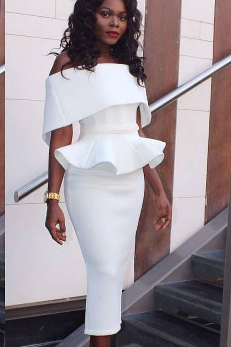 Pure Color Off Shoulder Bodycon Sexy Pencil Tee-length Dress